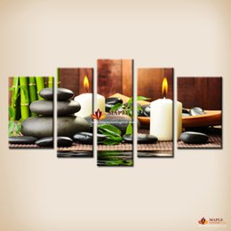 Wholesale 5 Panel canvas Art Botanical Green Feng Shui White Candle Wall Painting On Canvas Wall Pictures For Living Room canvas prints Cheap home Dec
