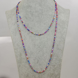 Wholesale Wholesale Long Beaded Necklaces - Bohemian Women Necklaces Long chain Color Beads Necklaces New Fashion Multi-layers Necklaces more wearing methods Jewelry for gifts