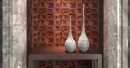 Wholesale Wholesale Interior Designs - 3D wooden mosaic tiles blue stone dots interior design wall tiles building supplies home hotel bar restaurant design natural wood tile