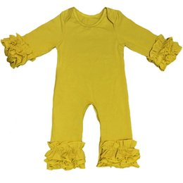 Wholesale High Neck Baby Bodysuit - Hot Sales Icing Ruffle Baby Girls Bodysuit Fall Winter Children Boutique Clothing High Quality Mustard Solid Newborn Toddler Jumpsuit