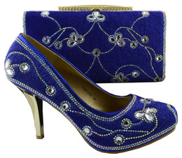Wholesale Wedges Heels For Women - Excellent high heel shoes match bags series with rhinestone and beads African shoes and bag sets for party 1308-L55 royal blue
