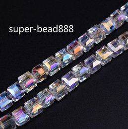 Wholesale 8mm Glass Heart Beads - Free Ship NEW 500pcs AB Faceted Suqare Crystal Glass Loose Spacer Beads For Jewelry Making 4mm 6mm 8mm