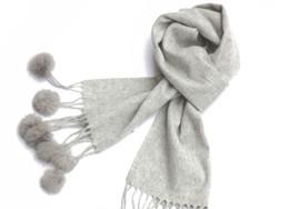 Wholesale Pashmina Fur - 2015 winter solid plain cashmere wool rabbit fur scarf Shawl Wrap Women's Girls Ladies Scarf Christmas gift 180*32cm 6pcs lot #3958