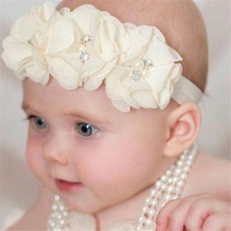 Wholesale Babys Headbands - Wholesale- Fashion 5PC Babys Girls Elastic Headband Chiffon Flower Photography Headbands A2