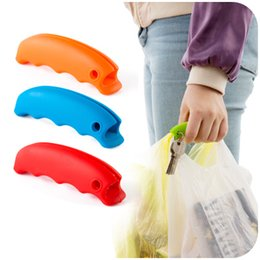 Wholesale One Trip Bag Holder - 20 pcs Lot Silicone Shopping bag carrier Candy color grocery holder handle Home One Trip Grips Novelty households