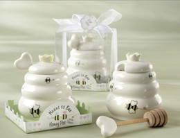 Wholesale Cheap New Baby Gifts - New arrival Meant to Bee Cheap Ceramic Honey Pot+ 100SET Lot wedding baby shower favor gifts