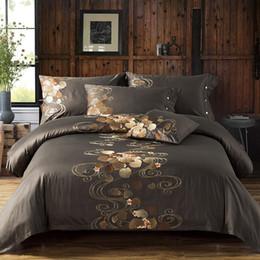 Wholesale Duvet Set Aqua Blue - Long-staple cotton Embroidery bedding set 4pcs 100% egyptian cotton duvet quilt covers bed sheet comforters bedclothes coverlet
