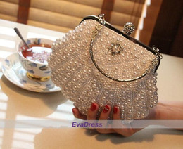 Wholesale Thanksgiving Beaded Bags - Michael Fashion Ivory White Shell Pearl Beaded For Sale Ladies Shoulder Bags Women Handbags Shine Clutch Evening Party