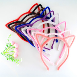 Wholesale Leopard Cat Ears - 20pcs lot Multi-Color Cute Fashion Leopard Solid Color Hair Accessories Girls Cat Ears Hair Bands Headbands Lovely Colorful Hair Bands A1347