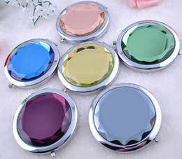 Wholesale Metal Mirror Compacts - 100pcs lot 7cm folding makeup mirror compact mirror with crystal, metal pocket mirror for wedding gift cosmetic mirror