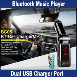 Wholesale S4 Cassette - BC06 LCD Bluetooth Car Kit MP3 FM Transmitter SD USB Car Charger Handsfree for iPhone 6 6 Plus Samsung Galaxy Note 4 3 2 S5 S4 S3 S6 OM-CD4