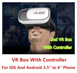 Wholesale Virtual 3d Card - New Arrival Professional VR Case VR Box 1   2nd + Remote Controller Google Card Board 3D Virtual reality Glasses Head Mount For IOS Android