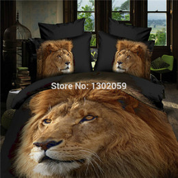 chinese quilt covers Coupons - Wholesale- High Quality 3D Mighty lion Animal Total 4 Pcs Quilt Cover Bed sheet Pillowcase King Queen Bedding Set