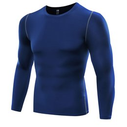 Wholesale Fitness Professional Shirts - Wholesale-Professional Men Fitness Bodybuilding Running T Shirts Athletic Spandex Clothes Long Sleeve Gym Training Mens Quick Dry Tights