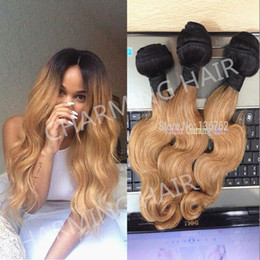 Wholesale Two Tone Blonde Ombre Hair - 3pcs #1b #27 honey blonde dark root ombre body wave virgin brazilian two tone human hair weaving weft extensions grade 7A with free shipping