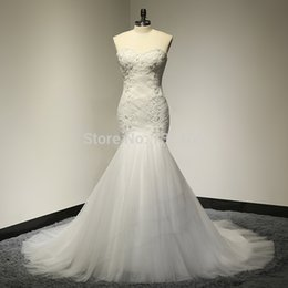 Wholesale Weddings Dresses China - Real Picture Mermaid Bridal Gowns Beads Tulle Vintage China Wedding Dresses Sexy Lace Floor Length Sweetheart Vestido De Casamento