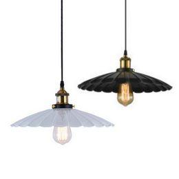 Wholesale lotus pendant lamp - E27 Painted Iron Retro vintage pendant light White Black color D25,36,42cm Countryside Antique lamp Pendant lamp the lotus shape