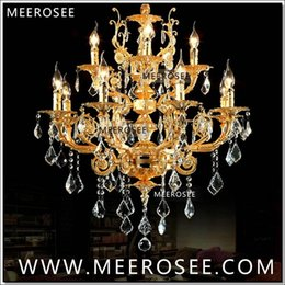 Wholesale Modern Lobby Light - Modern Luxury 12 Arms Crystal Chandelier Lamp Gold Suspension Lustre Crystal Light for Foyer Lobby MD8857 L8+4 D750mm H750mm