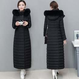 Wholesale Women Snow Jacket Fur - X Long Down Jackets Womens Winter Coats Duck Down Parkas Warm Thick Outwear Overcoat Real Fox Fur Hooded High Quality Snow Clothes