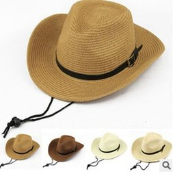Wholesale Western Christmas Tie - Free shipping! Straw Tourist Chapeu Western Cowboy Cowgirl Hat For Men Women Cap Performance Sun Outdoor Spring Summer New