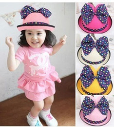 Wholesale Baby Boy Brim Hats - Stingy Brim Hat Children Caps Fashion Cute Kids Baby Summer Outdoor Bucket Hats Cap Sun Beach Beanie Mickey Cat Ears Bow Sunscreen Hats WJ76