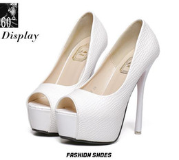 Wholesale White Bridal Pumps - Elegant wedding bridal shoes pumps 15CM sexy high heels peep toe white shoes 2015 size 34 to 39