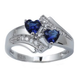 Wholesale 925 Rings Blue Heart - Elegant Women's Twin-heart Blue Sapphire 925 Sterling Silver Promise Ring Couple Jewelry R014