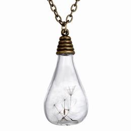 "Wholesale Light Bulb Pendant Necklace - Fashion Vintage Retro Jewelry Necklaces Dried Dandelion Seed Glass Locket Light Bulb Pendant Necklace with 23"" Rolo Chain 156N38"