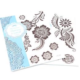 Wholesale Black Henna Hand Tattoos - New Temporary Tattoo Black Henna Tattoo Paste Sticker 20 pcs lot Body Tattoo Waterproof Arm Chest Tattoos 8.3*5.9 Inch J01-32