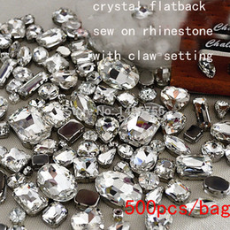 Wholesale Flatback Stones - Fancy crystal rhinestone! 500pcs lot Mix sizes Sew On Rhinestones Flatback With metal claw setting Sewing Crystal Stones button