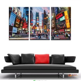 Wholesale Huge Abstract Wall Paintings - 3 Pcs canvas wall picture modern abstract huge wall art painting on canvas print for new york city night view home decoration picture