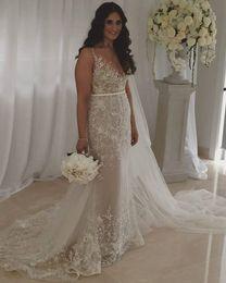Wholesale Vestidos Crepe Plus Size - 2016 Plus Size Mermaid Wedding Dresses With Sash Lace Applique Paolo Sebastian Elegant Sexy bridal Gowns Sheer Illusion Neck Vestidos Cheap