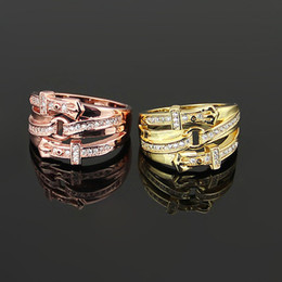 Wholesale Wedding Rhinestone Belt Buckles - belt buckle ring Love Angle's Wing Rhinestone crystal Rings Fashion Brand CZ Diamond Wedding Jewelry For Women Anel steel men ring jewelry