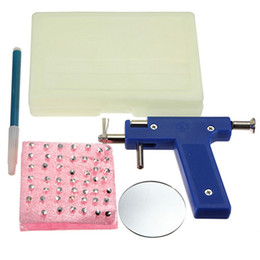 Wholesale Nose Piercing Needles - New 1set Professional Stainless Steel Ear Nose Navel Body Piercing Gun 98pcs Studs Tool Kit Set