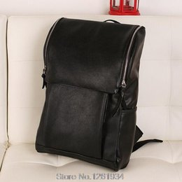 Wholesale Leather Bags For Laptops Ladies - Wholesale-New 2015 Fashion Men Leather Backpacks College School Bags For Teenagers Ladies Laptop Women Backpacks Shoulder Bag
