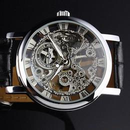 Wholesale Winner Mens Hand Wind Watches - Winner brand Mens Black Skeleton Hand Wind Mechanical Watch Wrist Watch Black Leather Strap Drop Ship