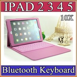 Wholesale Bluetooth Silicon Keyboard Pc - 10X ipad Air Ipad 5 Wireless Leather Bluetooth Keyboard Case for iPad 2 3 4 Colorful Cover Case tablet pc 9-JP