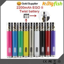 Wholesale Ego Twist Protank - Newest ego 2 twist kgo-2 II KGO 2200 mah battery VV ego 510 thread electronic cigarette CE4 protank MT3 Atomizer VS vision tesla battery