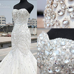 sweetheart chapel trumpet wedding dress Promo Codes - 2019 Luxury Crystal Wedding Dresses Mermaid Sweetheart Floor Length Rhinestone Corset Plus Size Bridal Gowns Custom Made BO7819