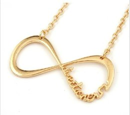 Wholesale One Direction Infinity Necklaces - 3pcs lot Elegant Women Infinity Necklaces Gold Silver and Black Plating One Direction Directioner Infinity Necklace Jewlery Nl-1956