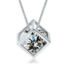 Wholesale Necklaces For Prom Dresses - Crystal Magic Cube Pendant Chokers Necklaces Charms Jewelry for Weddings Sale Women Girls Cheap Match Prom Dresses WITHOUT CHAIN Necklace