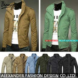 Wholesale Army Style Jackets - Fall-2015 New Mens Jackets and Coats, Mens Jackets Cotton Outwear Mens Coats Casual Fit Style Designer Fashion Jacket 8 Colors M~XXXL