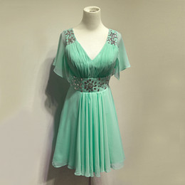 Wholesale New V Neckline Short Chiffon Bridesmaid Dress With Crystal Lake Blue Party Dress For Wedding