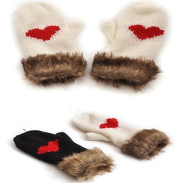 Wholesale Love Heart Mittens - Promotion Women Winter Knitted Gloves Thicken Cotton Warm Love Heart Pattern Mittens for Girls CA001