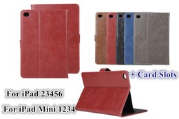 Wholesale Horse Cases - Mini4 Retro Crazy Horse Leather Wallet Case With Credit Card Slot Stand Holder For iPad 2 3 4 5 6 Air Air2 Mini Mini2 Mini3 iPad5 iPad6