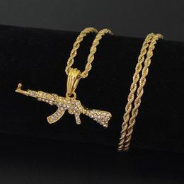 Wholesale Dog Cooler - Fashion Cool AK47 Gun Pendant Necklace European Hip Hop Jewelry Stainless Steel Chain N644
