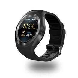 Яблоко сенсорный экран смотреть дети онлайн-Y1 смарт-часы Wrisbrand браслет круглый сенсорный экран с SIM-карты слот для Apple iPhone Samsung Android Sony сердечного ритма Smartwatch