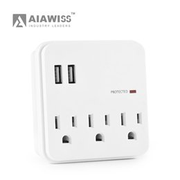 Wholesale Usb Multi Outlet - AIAWISS Multi Outlet Wall Adapter Surge Protector with 3 Electrical Outlets and 2 USB Charging Ports (2.4A Port, 3.1A Total) ETL Certified