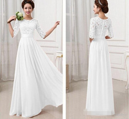Wholesale Women Evening Gown Maxi Dress - 2015 Elegant Women Lace Flower Hollow Out Chiffon Maxi Wedding Bridesmaid dresses Long Gown Dress evening dresses lace half sleeves