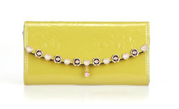 Wholesale Rose Purse Charm - 2016 Luxury Fashion Wallets For Women Rose Chain Charm Purse Candy Color Lady Handbag Mix Colors
